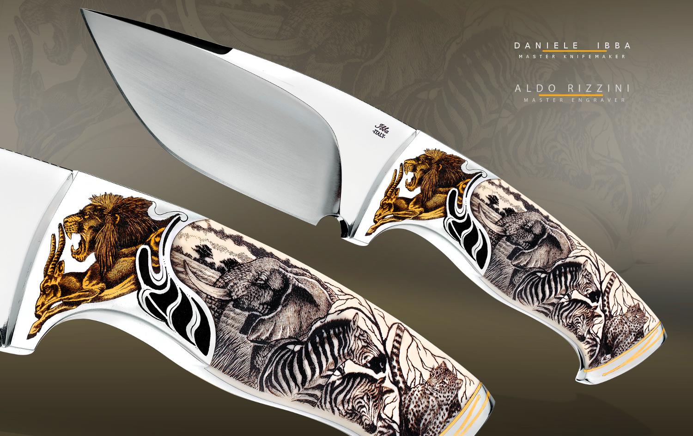"Custom-knife-""African-World""-Daniele Ibba-&-Aldo Rizzini-Full Integral fixed blade-, knife engraved by Master Aldo Rizzini –"