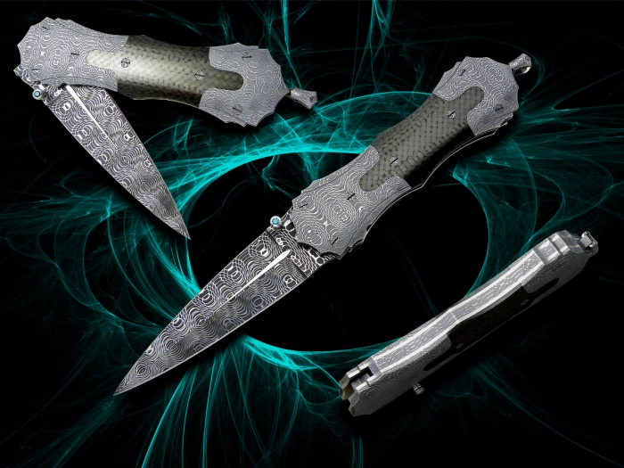 Ibba-custom-knives-model-Hybrid-Dagger-n5-stainless-damascus-blade-and-bolsters-carbon-fiber-handle-scales-and-platinun-details-length 20cm