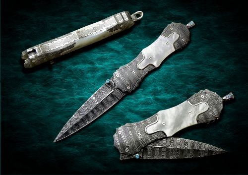 Daniele-Ibba-Custom-Knives-Model-Hybrid-Dagger-n-6-damascus-blade-and-bolsters-mother-of-pearl-handle-scales-platinum-details-total-length-20cm