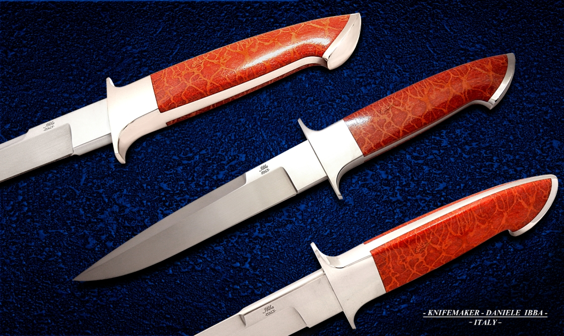 Ibba custom knives-model-Audax-integral fixed blade-Rwl34 stainles steel-happle-coral-handle- scales-length-33-cm