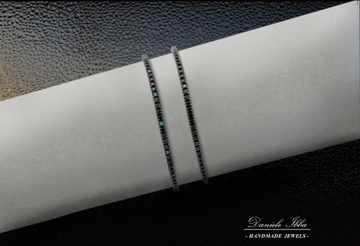 Tennis Bracelet- black and blue diamonds